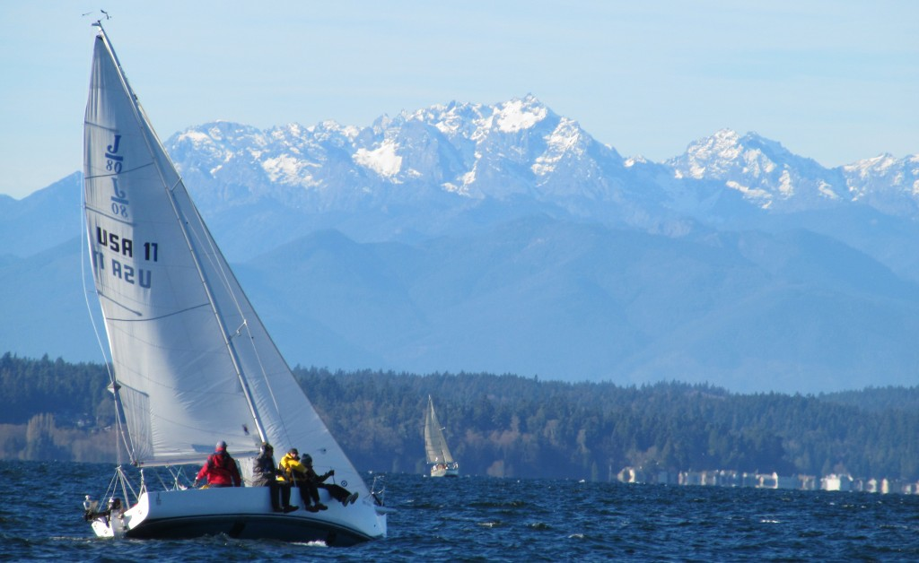 Sailboat: J/80 Namaste Hiking. Seattle Sailing Club.