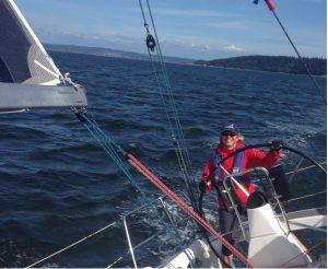 Whidbey race week-joanne at helm