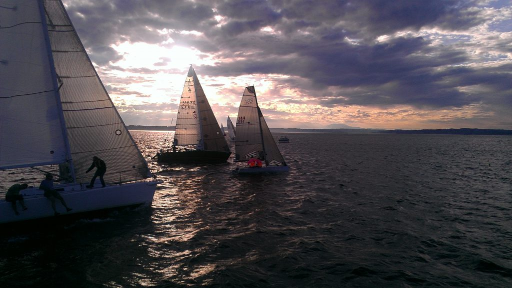 Sailboats in the sunset